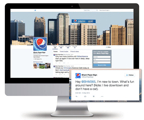 Screenshot of the Birmingham Pepsi Sign Twitter page